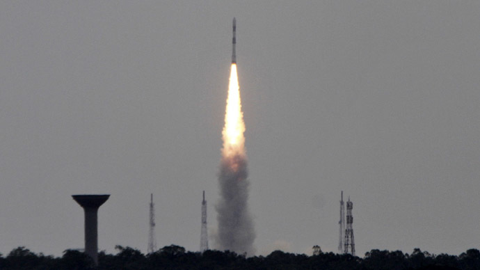 ndia's Polar Satellite Launch Vehicle (PSLV-C23), carrying five satellites, lifts off from the Satish Dhawan Space Centre in Sriharikota, north of the southern Indian city of Chennai June 30, 2014. (Reuters/Babu)