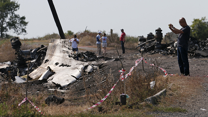 A Malaysian air crash investigator (R) works at a crash site of the Malaysia Airlines Flight MH17 near the village of Hrabove (Grabovo), Donetsk region July 24, 2014. (Reuters / Maxim Zmeyev)
