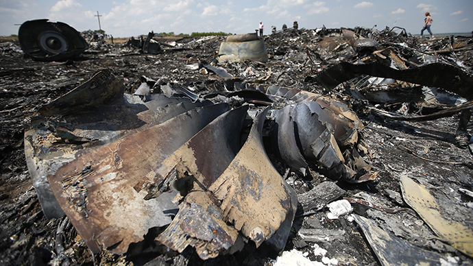People walk near the wreckage of Malaysia Airlines MH17 that crashed last Thursday, near Hrabove (Grabovo) in the Donetsk region July 23, 2014. (Reuters / Maxim Zmeyev)