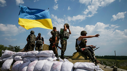 Ukrainian troops are pictured near the eastern Ukrainian town of Seversk (RIA Novosti / Gleb Garanich)
