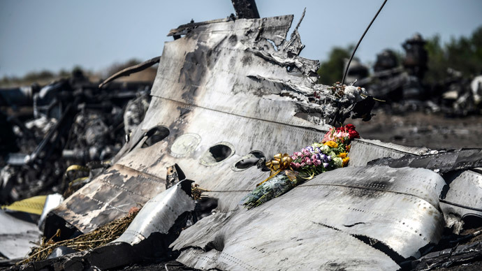 Flowers, left by parents of an Australian victim of the crash, laid on a piece of the Malaysia Airlines plane MH17, near the village of Hrabove (Grabove), in the Donetsk region. (AFP Photo / Bulent Kilic