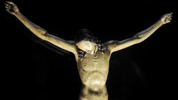 A 15th century wooden crucifix attributed by Italian Renaissance artist Michelangelo Buonarroti (AFP Photo / Filippo Monteforte)