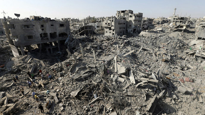 A general view of destruction in the Shejaia neighbourhood, which witnesses said was heavily hit by Israeli shelling and air strikes during an Israeli offensive, in the east of Gaza City August 1, 2014. (Reuters)