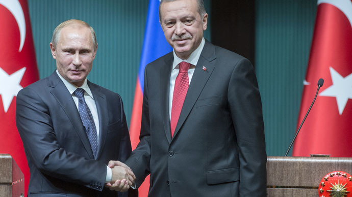 Russian President Vladimir Putin, left, and President of Turkey Recep Tayyip Erdogan at the concluding news conference in Ankara. (RIA Novosti/Sergey Guneev)