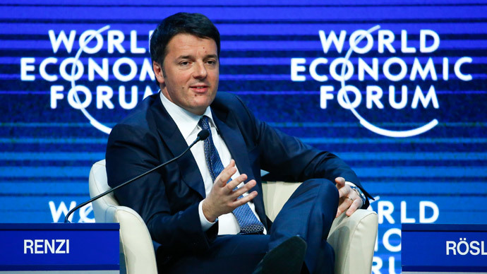 Italian Prime Minister Matteo Renzi speaks during the Transformational Leadership event in the Swiss mountain resort of Davos January 21, 2015.(Reuters /Ruben Sprich)
