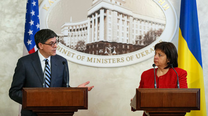 Ukrainian Finance Minister Natalia Yaresko (R) listens as U.S. Treasury Secretary Jack Lew speaks during a joint news conference in Kiev January 28, 2015.(Reuters / Gleb Garanich)