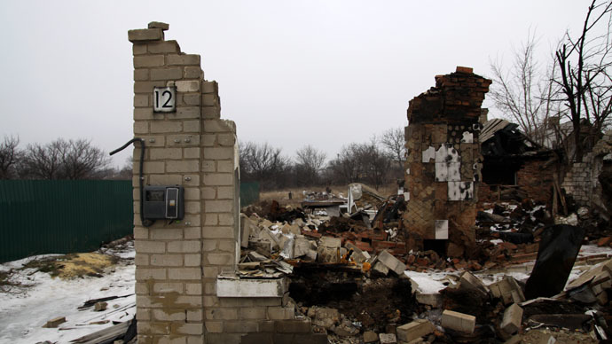 A private house destroyed in the shelling in Donetsk's Petrovsky district. (RIA Novosti/Sergey Averin)