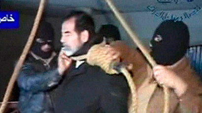 Executioners putting a noose around former Iraqi President Saddam Hussein's neck moments before his hanging in Baghdad December 30, 2006. (Reuters / Al Iraqiya)