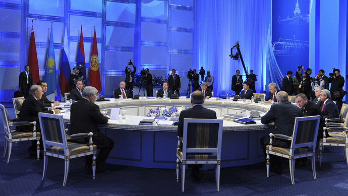 Top officials from Russia, Kazakhstan, Kyrgyzstan, Armenia and Belarus take part in a meeting of the Eurasian Economic Union in Astana. (Reuters/Mikhail Klimentyev/RIA Novosti/Kremlin)