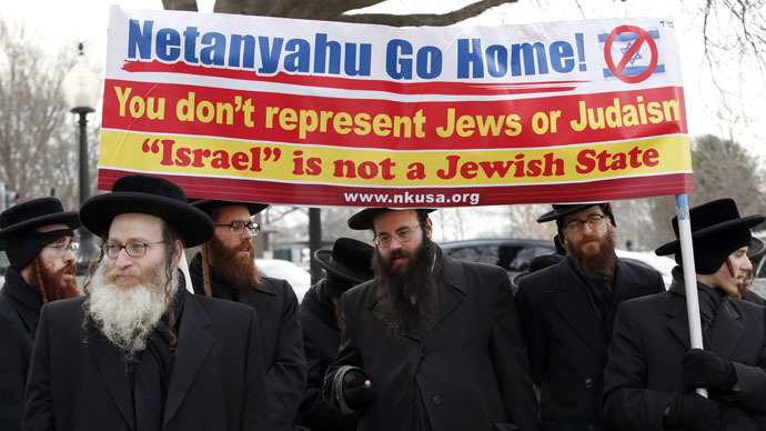 Orthodox Rabbis protest against Netanyahu's speech toCongress.  Washington, March 3, 2015. (Reuters/Yuri Gripas)