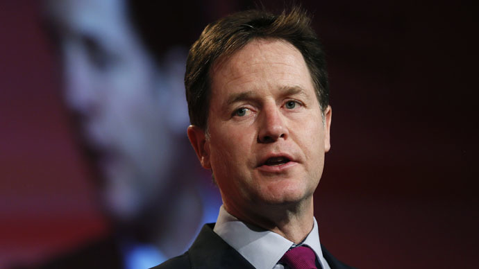 Britain's deputy Prime Minister and leader of the Liberal Democrats, Nick Clegg (Reuters/Stefan Wermuth)