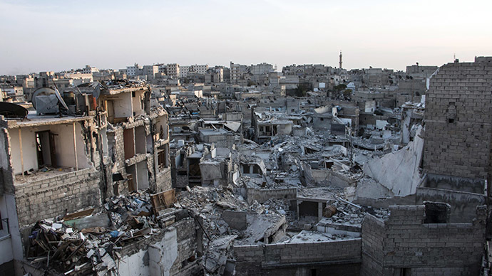 A general view shows destruction in the Kalasa neighbourhood of the northern Syrian city of Aleppo on October 28, 2014 (AFP Photo / Karam Al Masri)
