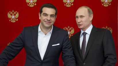 Russian President Vladimir Putin (R) and Greek Prime Minister Alexis Tsipras. (Reuters/Alexander Zemlianichenko)