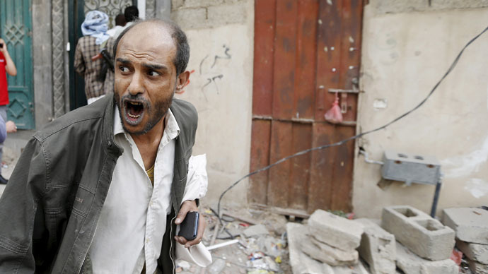 A man reacts at the site of an airstrike in Sanaa April 8, 2015. (Reuters/Khaled Abdullah)