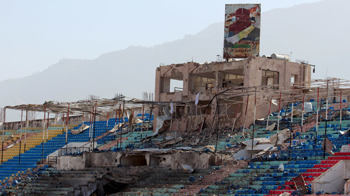 A stadium is seen after it was destroyed by an air strike in Yemen's central city of Ibb April 13, 2015. (Reuters/Stringer)