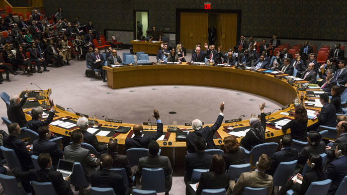 The United Nations Security Council votes in an attempt to halt the escalating conflict in Yemen in New York April 14, 2015. (Reuters/Lucas Jackson)
