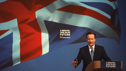 Britain's Prime Minister David Cameron presents the Conservative party election manifesto in Swindon, April 14, 2015. (Reuters/Peter Macdiarmid)