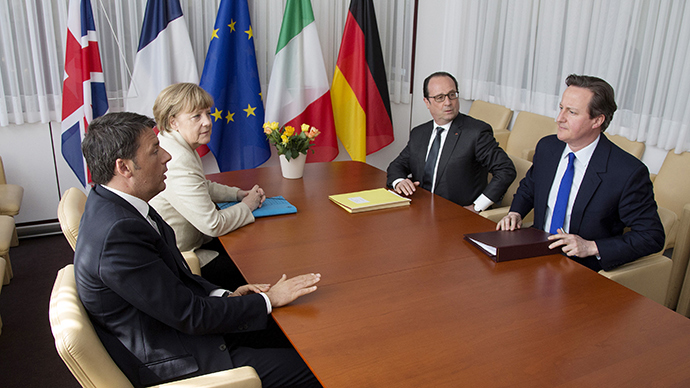 Italian Prime Minister Matteo Renzi (L-R), German Chancellor Angela Merkel, French President Francois Hollande and British Prime Minister David Cameron take part in a meeting during a European Union extraordinary summit seeking for a solution to the migrants crisis, in Brussels April 23, 2015 (Reuters / Yves Herman)