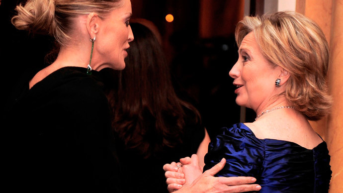 Actress Sharon Stone (L) and Hillary Clinton (Reuters / Mike Theiler)