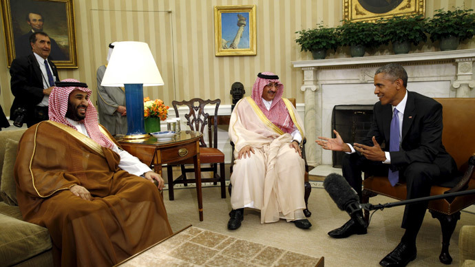 U.S. President Barack Obama meets with Crown Prince Mohammed bin Nayef (C) and Deputy Crown Prince Mohammed bin Salman (L) of Saudi Arabia in the Oval Office of the White House in Washington May 13, 2015.(Reuters / Kevin Lamarque)