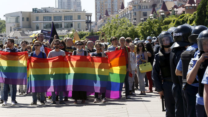 nterior Ministry members stand guard as activists take part in the so-called Equality March, organized by a lesbian, gay, bisexual and transgender (LGBT) community, in Kiev, Ukraine, June 6, 2015. (Reuters)