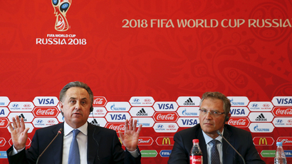 Russian Sports Minister Vitaly Mutko (L) and FIFA Secretary General Jerome Valcke attend a news conference in Samara, Russia, June 10, 2015. (Reuters / Maxim Zmeyev)