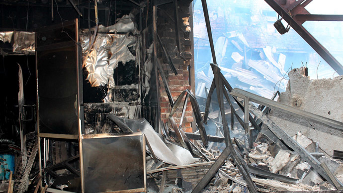 Inside a building destroyed by shelling of Donetsk. (RIA Novosti/Irina Gerashchenko)