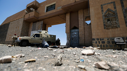 A military vehicle secures the gate of a prison near the northwestern Yemeni city of Omran (Reuters / Khaled Abdullah)