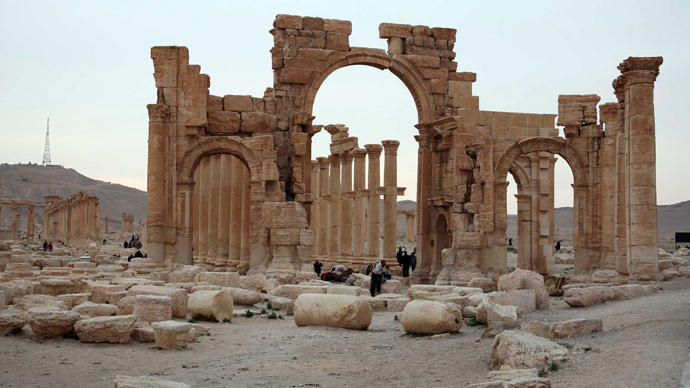 ARCHIVE PHOTO: Tourists walk in the historical city of Palmyra (Reuters / Nour Fourat)