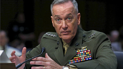 Marine Corps General Joseph Dunford testifies during the Senate Armed Services committee nomination hearing to be chairman of the Joint Chiefs of Staff on Capitol Hill in Washington, July 9, 2015. (Reuters/Yuri Gripas)