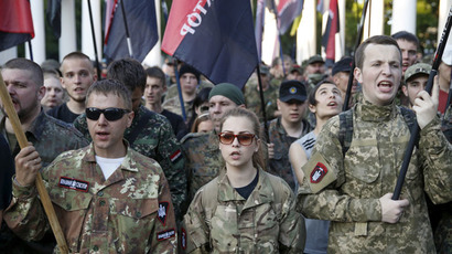 Members of the far-right radical group Right Sector (Reuters/Valentyn Ogirenko)