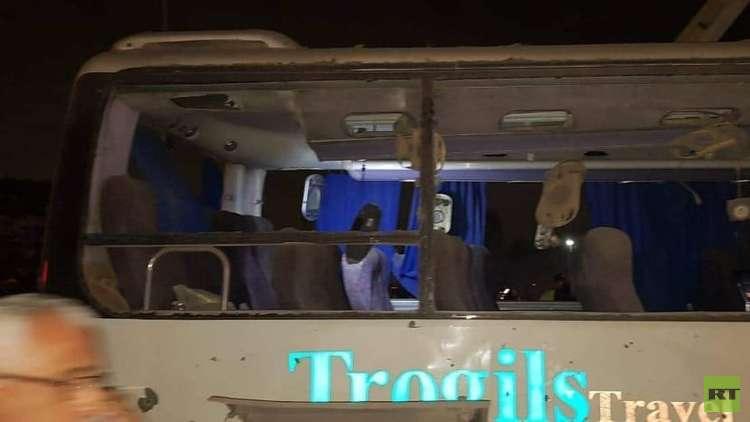 الصور الأولى لاستهداف حافلة الركاب السياحية بعبوة ناسفة في مصر