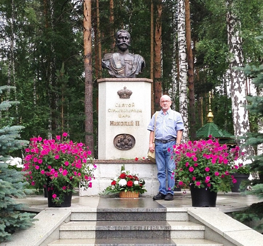 Paul Gilbert at the Monument to Nicholas II in Ganina Yama, not far from Ekaterinburg, 2018. Bodies of Tsar Nicholas II and his family were first secretly transported to this place from the Ipatyev House where they were murdered