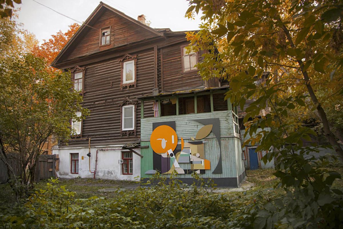 Obra de Aleksêi Luka, artista de rua de Moscou, 2014.