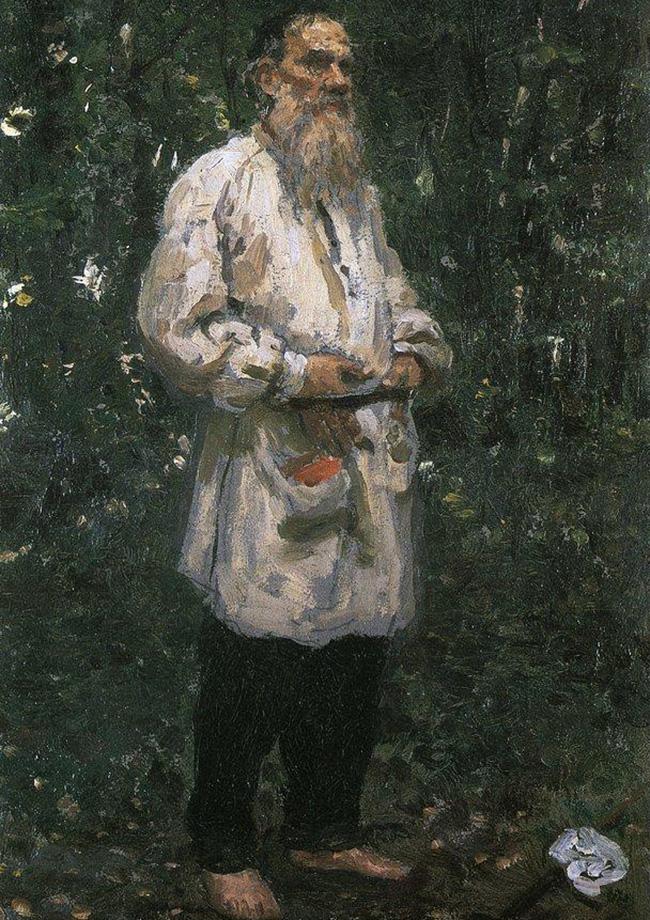 裸足のレフ・トルストイ、1901年。ロシア史上最も偉大なロシア人作家だと主張する人もいるほどのレフ・トルストイは、画家のイリヤ・レーピンとの交際があった。この画家はよくトルストイの住居であるヤースナヤ・ポリャーナに滞在し、ギャラリー中に展示できるほどの数におよぶトルストイの肖像画を残した。1901年に描かれたこの作品では、トルストイが裸足で森の中に立っている。そこに描かれたトルストイの姿には、彼が禁欲的で質素な生活を送り、民衆と共に生活することを目指していた時期の彼の精神的彷徨が反映されている。