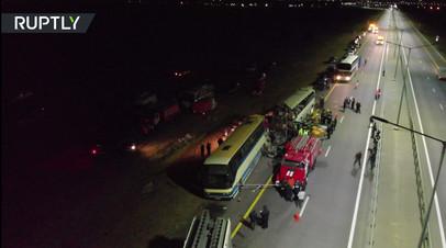 Видео с места столкновения двух автобусов на трассе М-4 «Дон»