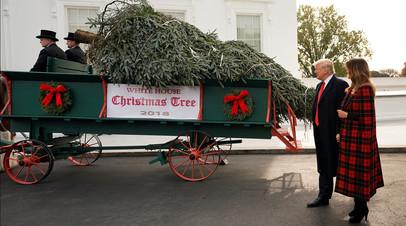 Дональд и Меланья Трамп приняли рождественскую ёлку во дворе Белого дома