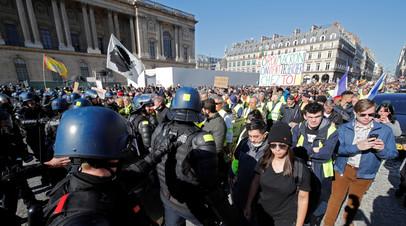 Число задержанных в ходе акции протеста «жёлтых жилетов» в Париже возросло до 28